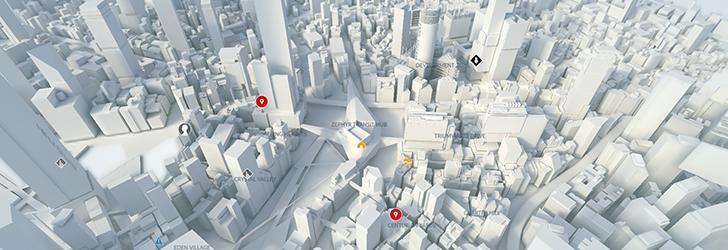 Mirror's Edge ne oferă posibilitatea să interacționăm cu harta orașului City of Glass